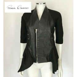 $2150 Rick Owens Black Leather Front Asymmetric Zipper 3/4 Sleeve Jacket Size 6