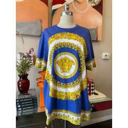 Versace Sz 3XL Blue Gold Medusa Floral T-shirt 2676-56-2621