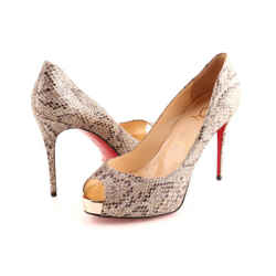 Christian Louboutin New Very Prive Python Peep Toe Pumps
