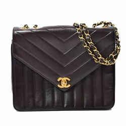 Auth Chanel Lamb V Stitch Chain Shoulder Bag Chevron Gold Hardware Black Laser
