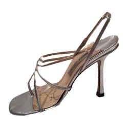 JIMMY CHOO London Sexy Silver Strappy Slingback Stiletto Heels Size 8 1/2