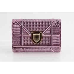 Christian Dior Metallic Diorama Micro-Cannage Wallet