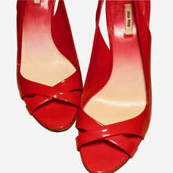 Coral Patent Leather Open-toe Sling-back Pumps