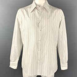 ALEXANDER MCQUEEN Size XL White & Black Vertical Stripe Long Sleeve Shirt