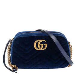 Gucci Blue Matelasse Velvet Small GG Marmont Shoulder Bag