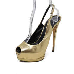 Giuseppe Zanotti Metallic Gold Leather Platform Slingback Heels