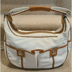 Tod's Ivory Nylon Hobo With Two Front Pockets And Trimmed With Brown Leather