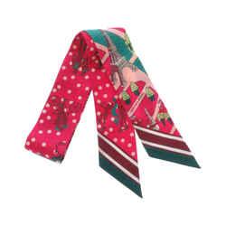 Pink Hermes Printed Twilly Silk Scarf