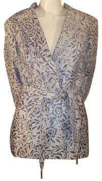 St. John Slate Gray & Bone Floral Distressed Leather Belted Jacket S/M NWT