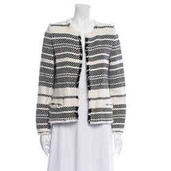 $610 Nwt Iro Zlata Black And White Raw Edge Jacket Size 40 Fr, Us 8