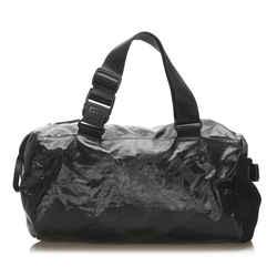 Vintage Authentic Chanel Black Nylon Fabric Sports Line Duffle Bag France