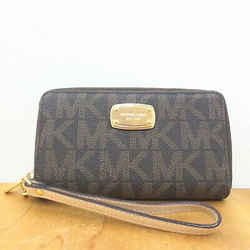 Michael Kors Gray Pebbled Leather Logo Zip Around Wristlet Wallet 1026KS