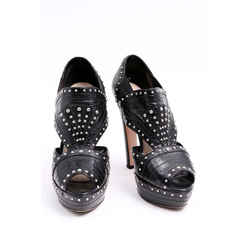 Prada Studded Ankle Boots Platforms Black One Size Authenticity Guaranteed