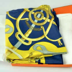HERMES Eperon d'Or Blue & Yellow Vintage Silk Scarf Behind the Scenes Collection