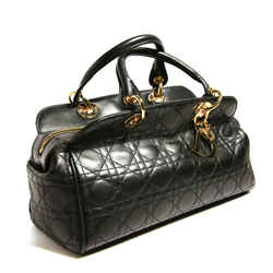 "Christian Dior ""Miss Dior"" Black Leather Lattice Bag"