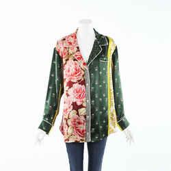 Oscar de la Renta Patchwork Floral Silk Pajama Top SZ M
