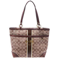 "Coach Heritage Stripe Brown Tote Bag 14""L x 10.5""H x 4.5""W"