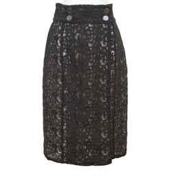 CHANEL Black Skirt Lace Cotton Faux Wrap Lined Paris Seoul 2016 Sz 38