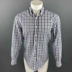 BRUNELLO CUCINELLI Size XS White & Navy Plaid Cotton / Linen Long Sleeve Shirt