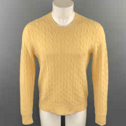 RALPH LAUREN Size M Yellow Cable Knit Cashmere Crew-Neck Sweater