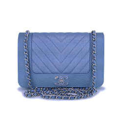 Nib 19p Chanel Light Blue Chevron Wallet On Chain Woc Flap Bag