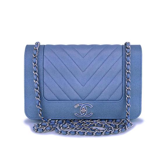 Nib 19p Chanel Light Blue Chevron Wallet On Chain Woc Flap Bag