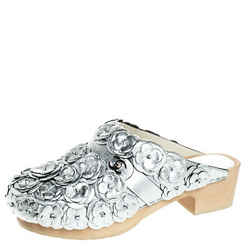 Chanel Metallic Silver Camellia Embellished CC Lock Wooden Clogs Size 40.5
