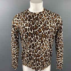 STELLA McCARTNEY Size M Black & Tan Leopard Print Wool Crew-Neck Pullover
