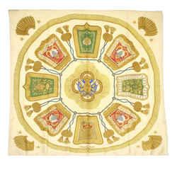Vintage Authentic Hermes Brown Beige Silk Fabric Poste et Cavalerie Scarf France