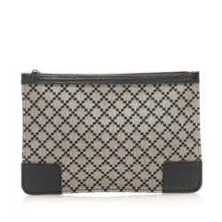 Gray Gucci New Diamante Canvas Pouch