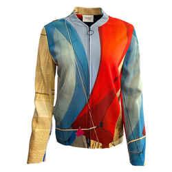 Akris Punto Red/ Blue/ Beige Sail Print Jacket