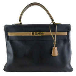 Hermes Kelly 35 Bicolor Black Brown Ardennes Leather Bag