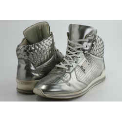 Versace Woven Leather Lace High Top Sneakers
