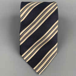 ERMENEGILDO ZEGNA Navy & Taupe Diagonal Stripe Silk Tie