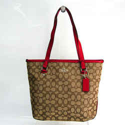 Coach Signature Zip Top F55364 Women's Canvas,Leather Tote Bag Beige,Br BF520547