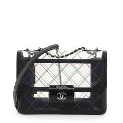 Beauty Lock Flap Bag Quilted PVC With Lambskin Large