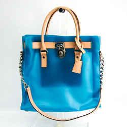Michael Kors Women's Leather,Vinyl Shoulder Bag,Tote Bag Beige,Blue BF515560