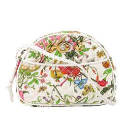 White Gucci Flora Trapuntata Mini Canvas Crossbody Bag