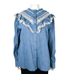 Gucci - New - Blue Denim Button Up Blouse Shirt Top White Lace Logo - 44 Us 8