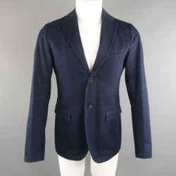 Jil Sander 38 Indigo Solid Denim Sport Coat Jacket