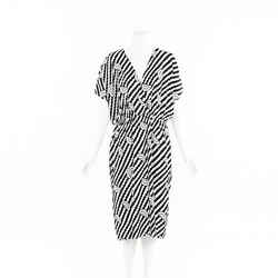 Celine Black White Geometric Midi Dress SZ 44