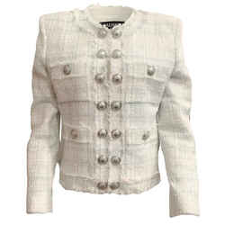 Balmain Light Blue and White Tweed Silver Button Blazer