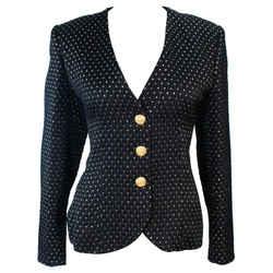 YVES SAINT LAURENT Black and Gold Metallic Jacket Size 10