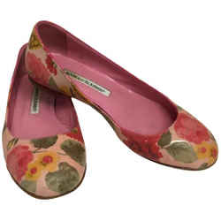 Manolo Blahnik Pink Rose Printed Leather Flats Size: EU 36 (Approx. US 6) Regular (M, B) Item #: 25715674