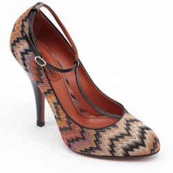 MISSONI Pump T-Strap Textile Orange Brown Leather Shoe Heel Sz 39
