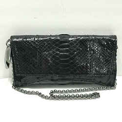 Donna Karan Italy Genuine Python Snake Black Purple Skin Chain Clutch Bag Purse