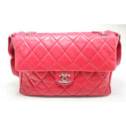 Chanel Quilted Patent Leather Maxi Classic Single Flap Bag - Fuchsia