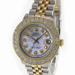 Rolex Women's Watch Datejust White MOP Diamond Dial Diamond Bezel 31mm Mid size