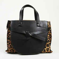 Loewe Gate Animal Print Leather Calf Hair Satchel Bag