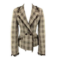 Taupe & Brown Plaid  Fringe Trim Jacket